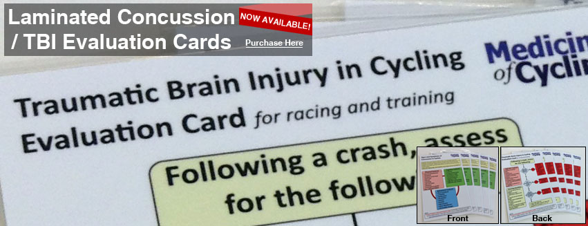 Cycling Concussion Head Injury / TBI / Traumatic Brain Injury Evaluation & Symptom Laminated Card